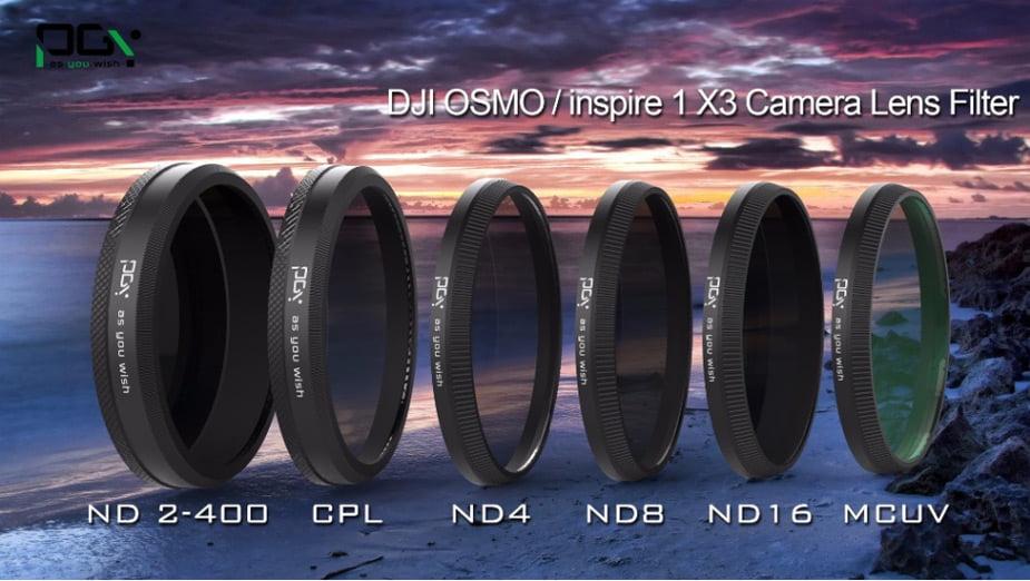 PGY DJI OSMO inspire1 X3 HD ND2-400 ND4 ND8 ND16 CPL MC-UV Lens Filter DJI X3 gimbal Lens Filter 01